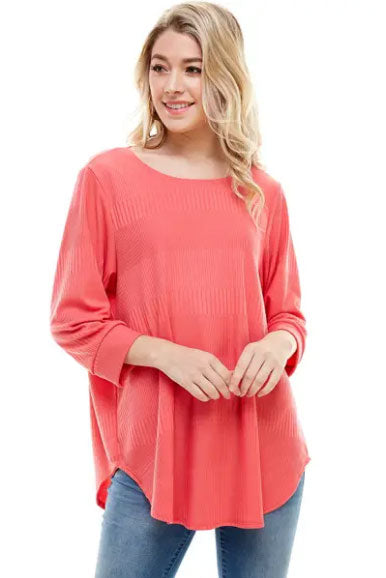 Coral Ribbed 3/4 Sleeve top