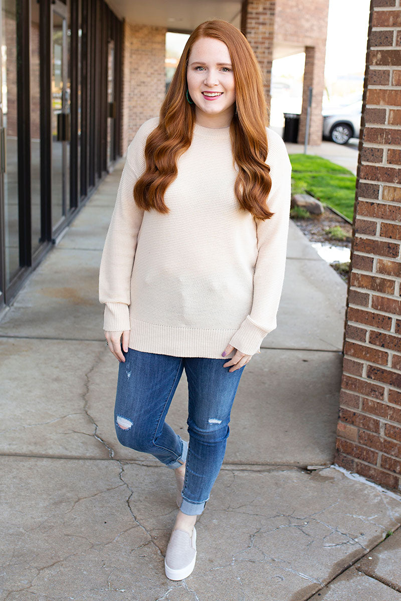 Cream Ribbed Lightweight Sweater