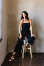 Cropped Tube Top Jumpsuit In Black - Amaranth Collection