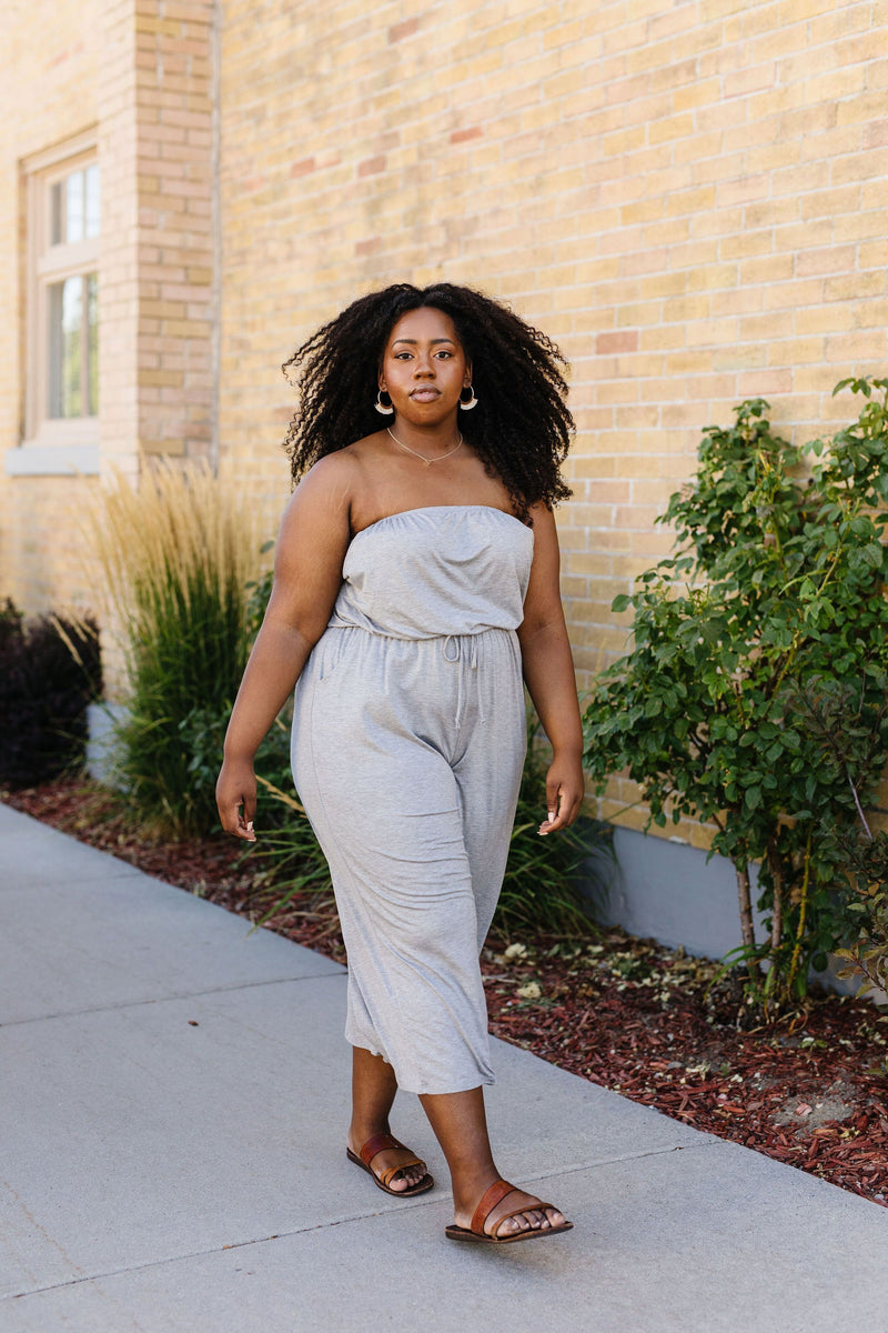 Cropped Tube Top Jumpsuit In Heather Gray - Amaranth Collection