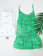 Ditzy Floral Tank In Green