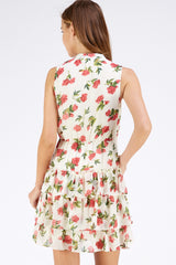 Ivory Floral Ruffle Dress