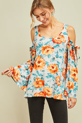 Blue and Coral Floral Cold Shoulder Top