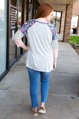 Grey Floral Henley