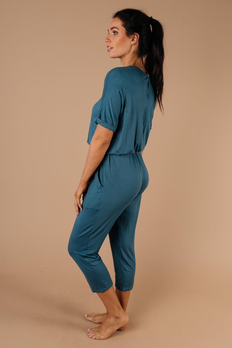 Girl Next Door Jumpsuit In Jade - Amaranth Collection
