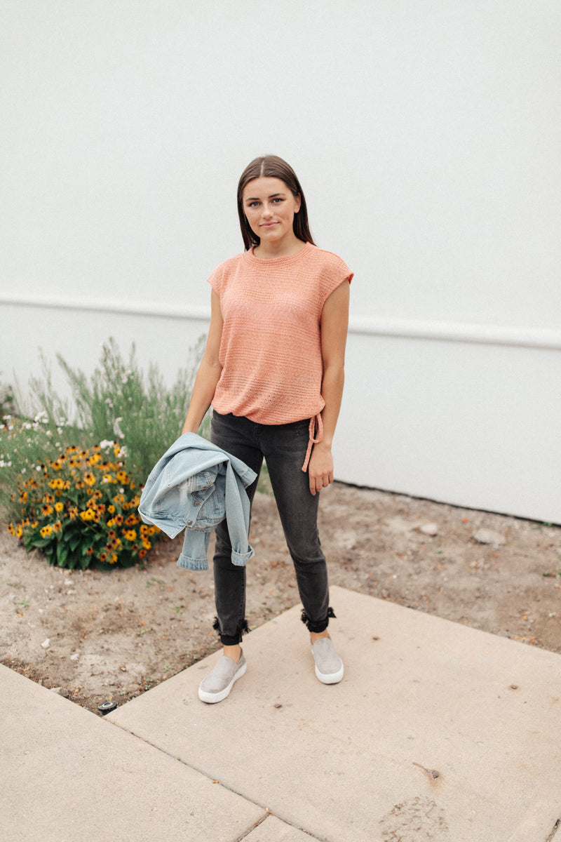 Girls Don't Sweat Sweater In Apricot - Amaranth Collection