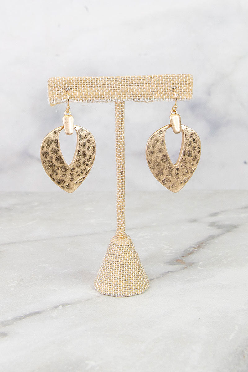 Gold Hammered Dangle Earrings