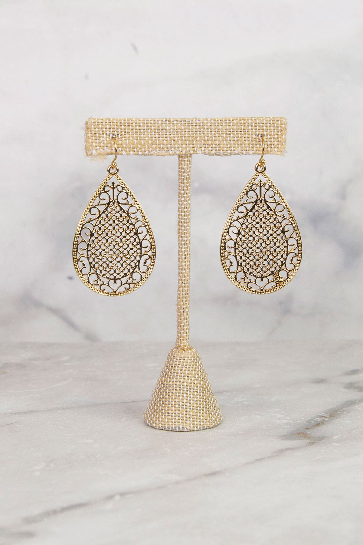 Gold Dangle Tear Drop Earrings
