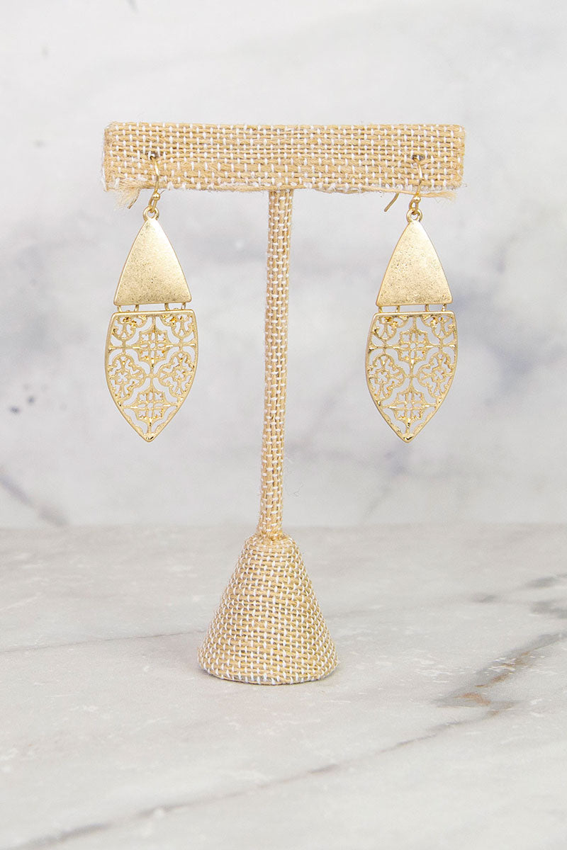 Gold Patterned Earrings