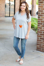 Comfy Solid V Neck Tee in Heather Gray