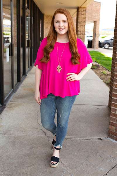Free Flow Flutter Sleeve Top - Hot Pink