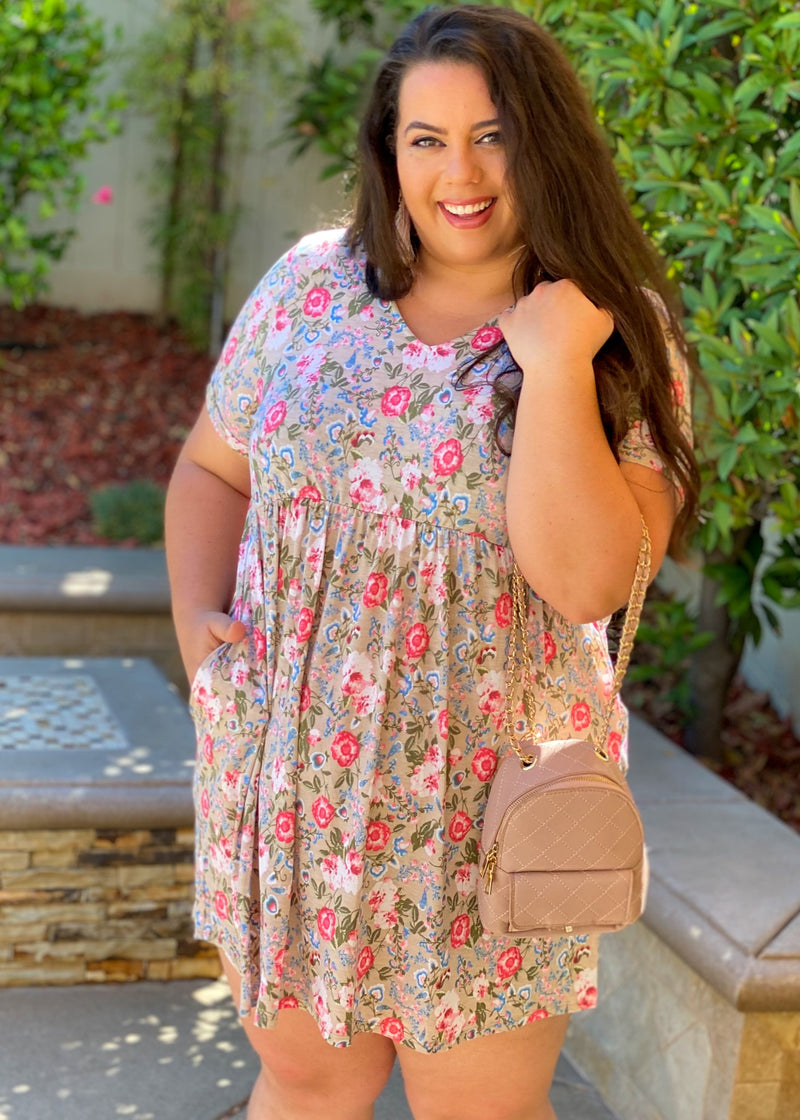 Bloomin in Taupe T-Shirt Dress