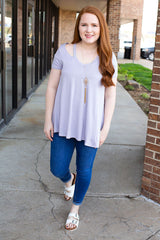 Lilac Short Sleeves Scoop V-Neck with Cut Out Top
