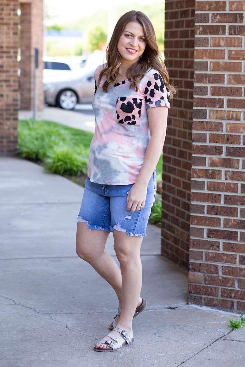 Tie Dye Animal Top in Light Pink
