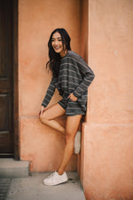 Lightweight Striped Pullover In Charcoal - Amaranth Collection