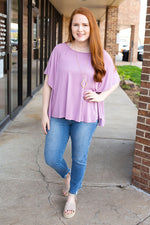 Free Flow Flutter Sleeve Top - Lilac