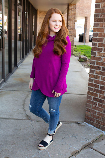 Magenta Waffle Knit Wrap and Cowl Neck Top