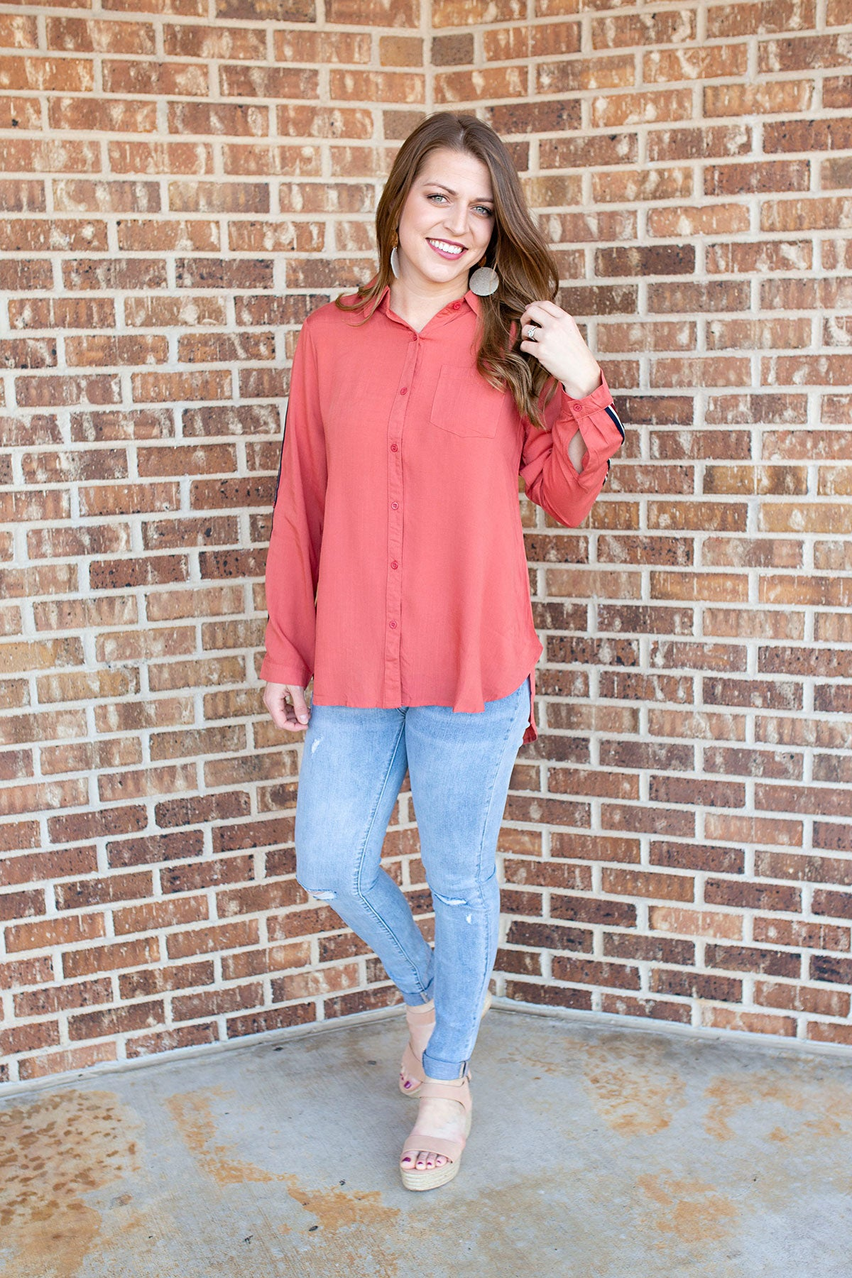 Rust Button Up Top