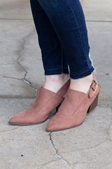 Nava Mocha Open Back Booties