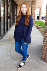 Navy Twisted Up Long Sleeve Basic Top