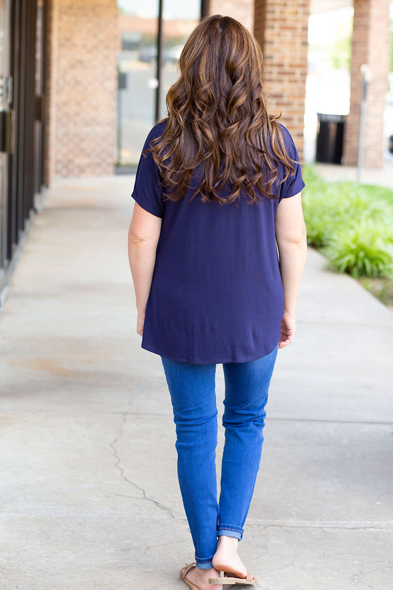 Comfy Solid V Neck Tee in Navy