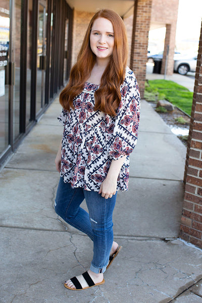 Red and Blue Patterned Bibb Top