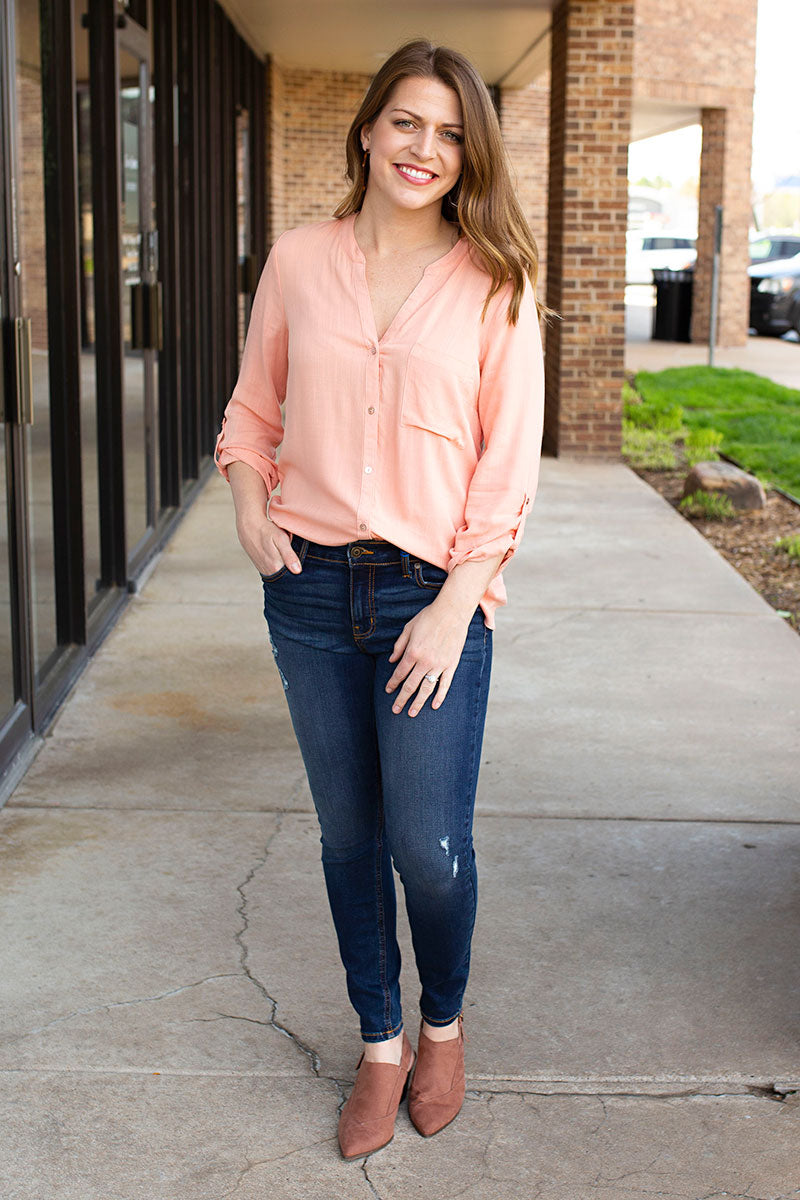 Peach Button Down Top