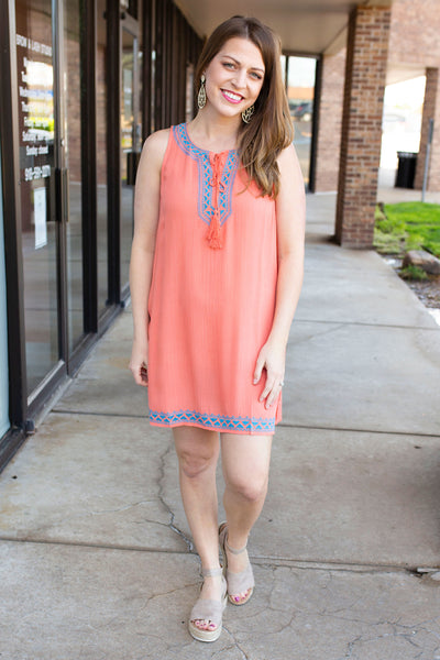 Coral Dress with Embroidery