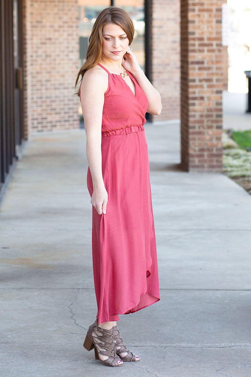 Rust Maxi Dress with Metal Accent