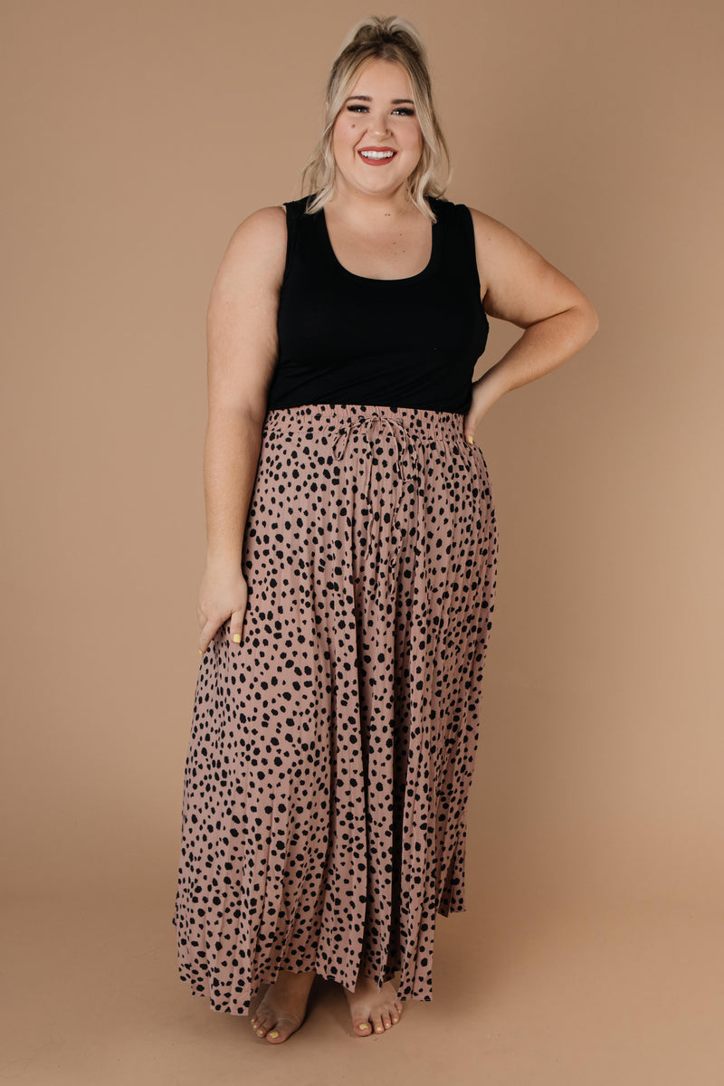 Pleated & Spotted Mauve Midi Skirt - Amaranth Collection