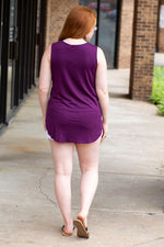 Casual Solid Tank Top in Eggplant