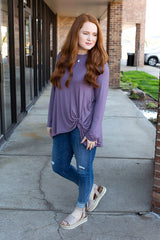 Smoky Plum Twisted Up Long Sleeve Basic Top