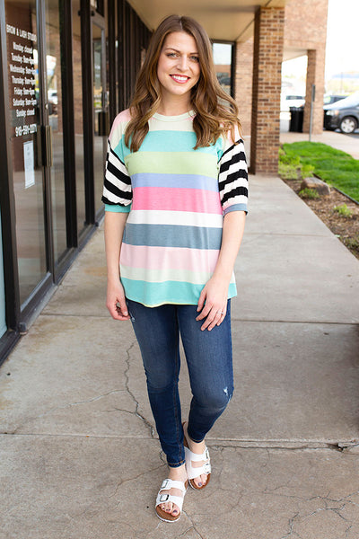Rainbow Bubble Sleeve Top