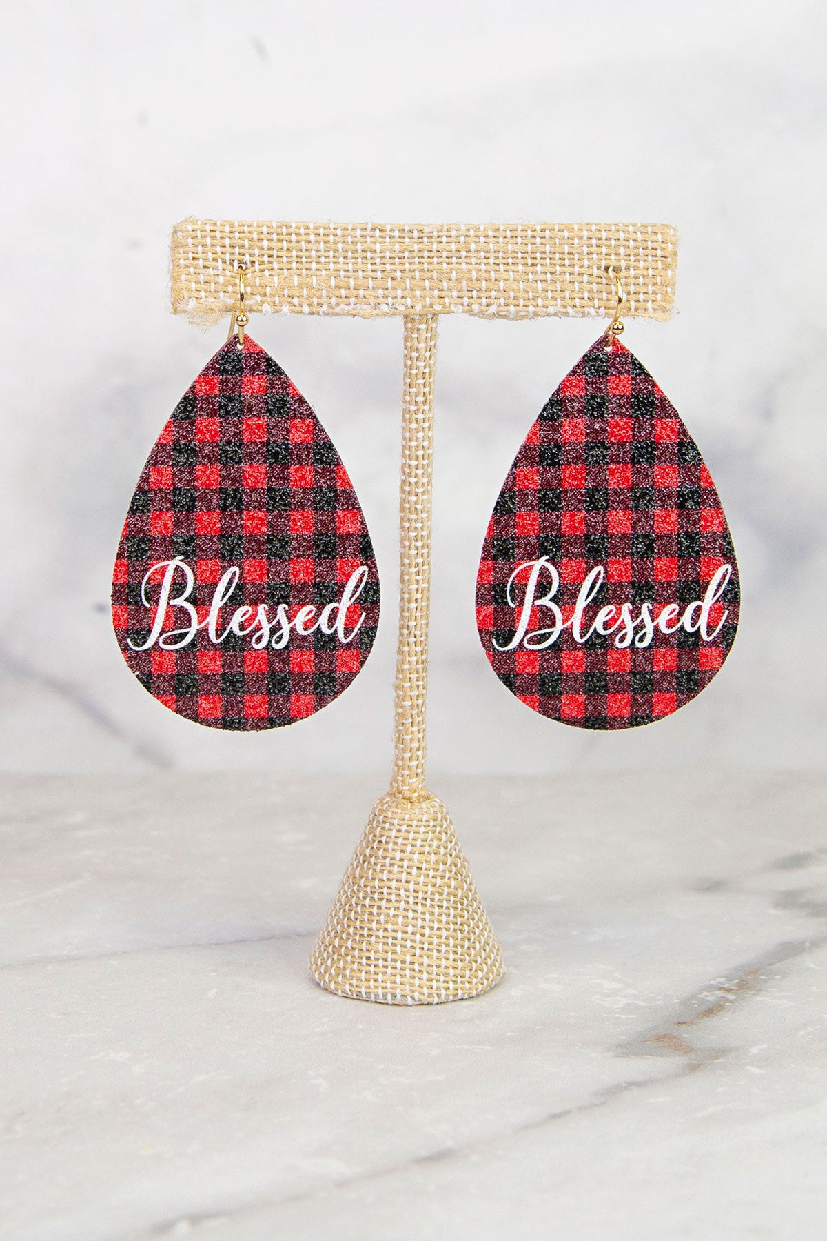 """Blessed"" Red Plaid Earrings"
