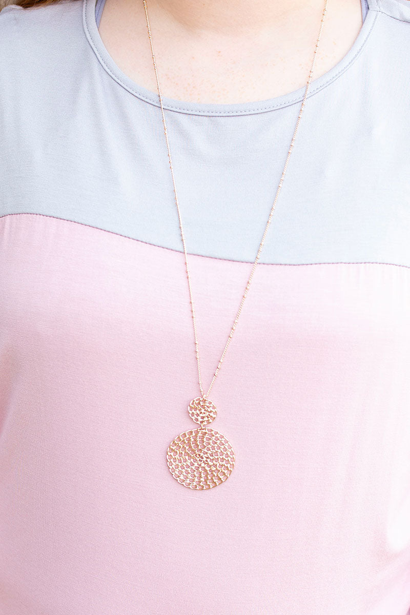 Double Rose Gold Whicker Necklace