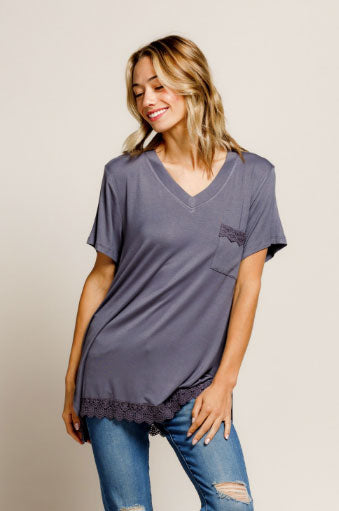 Charcoal Pocket V-neck with Lace Detail