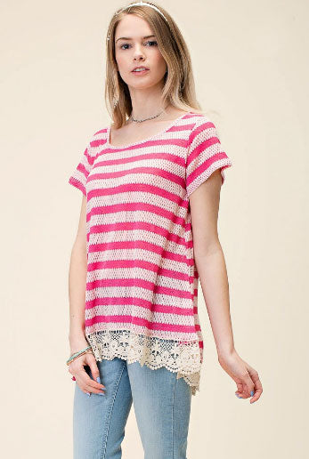 Fuschia Striped Top with Lace Detail