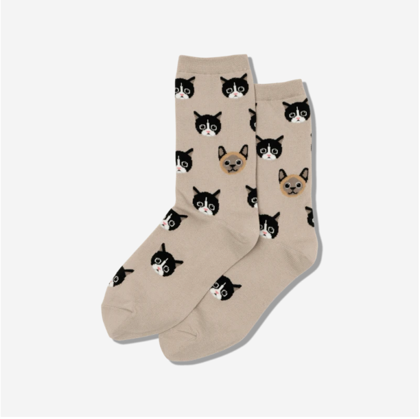Taupe Whiskers Crew Socks