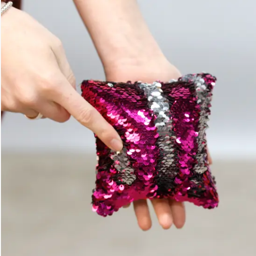 Hot Pink and Silver Square Fidget Pillow