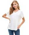Comfy Solid V Neck Tee in Ivory