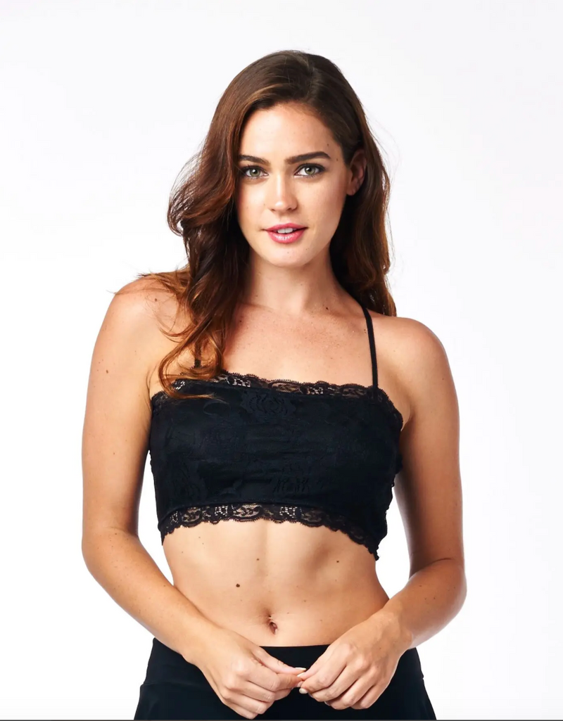 Camiflage Lace Bandeau Bralette in Black