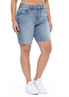 High Rise Button Fly Distressed Jean Shorts (PLUS)