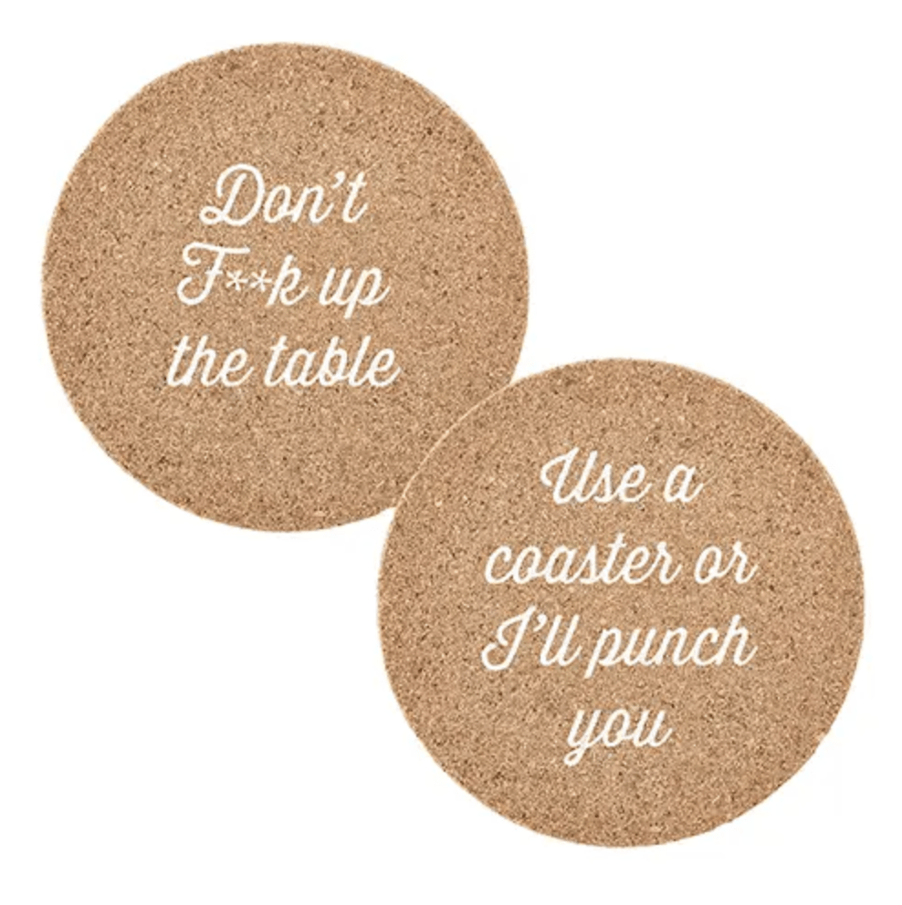 Mind Your Manners Cork Coasters - Amaranth Collection
