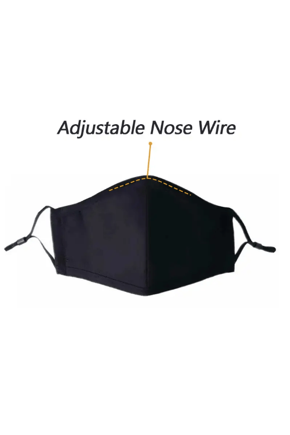 3 Ply Solid Face Cover with Nose Wire in Black - Amaranth Collection