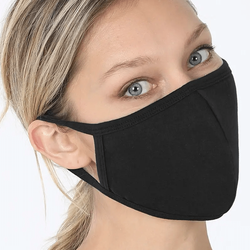 black 2 layer fabric cotton face mask