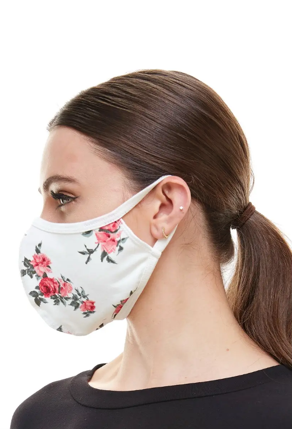 White Rose Fashion Face Covering (ADULT)