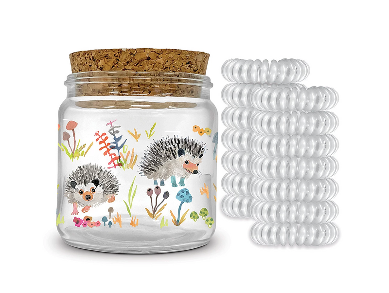 Decorative Hair Tie Jar - Hedgehogs
