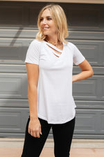 Side Strap Tee in White