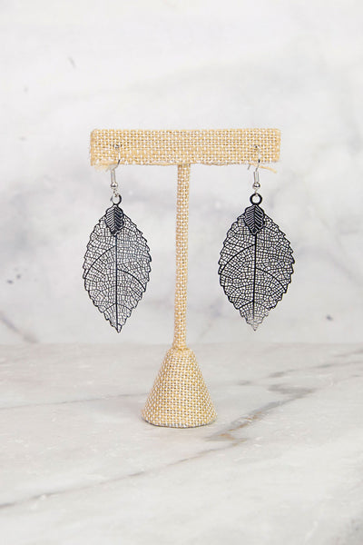 Silver Dainty Leaf Earrings