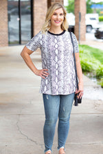 Slithering Around Short Sleeve Top in Gray
